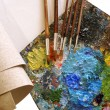 Set for painting - canvas, palette, pain - Stock Photo