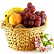 Stock Photo: Various of fruits in a basket