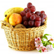 Various of fruits in a basket — Stock Photo