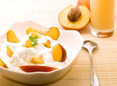 Breakfast in Peach colors — Stock Photo