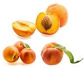 Set of fresh ripe peaches — Stock Photo