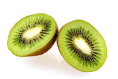 Two slices of fresh juicy kiwi fruit — Stock Photo