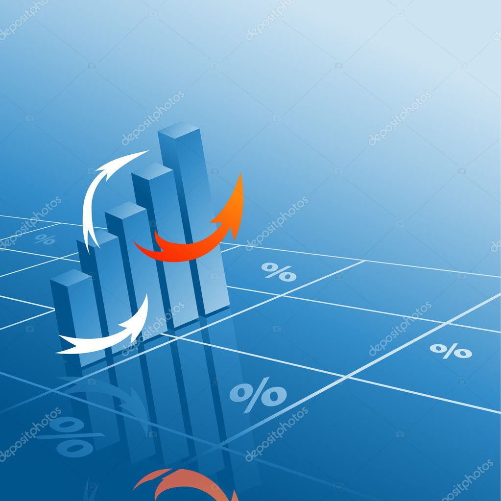 Vector abstract bar graphs with reflections — Stock Vector #1203119