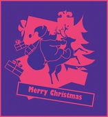 Carte postale nouvel an — Vecteur