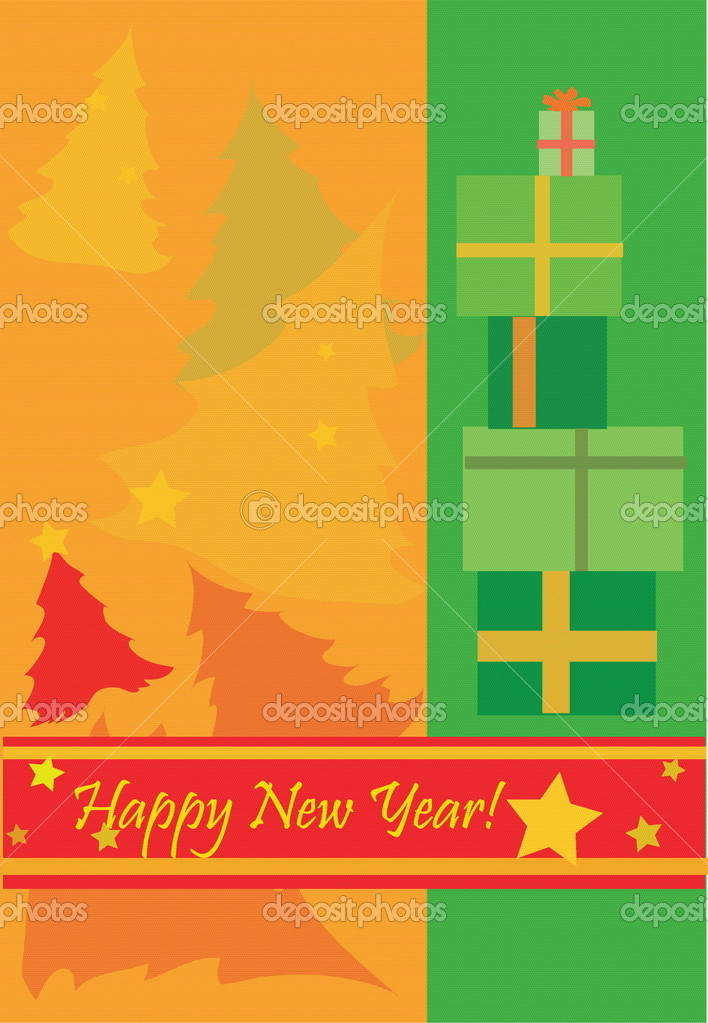 Funny new year postcard with stars and new year trees  Stock Vector #1140186