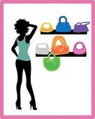 Ragazza, shopping — Vettoriale Stock