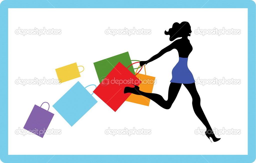 Pretty girl hurries for shopping. It season sale  — Stock Vector #1230847