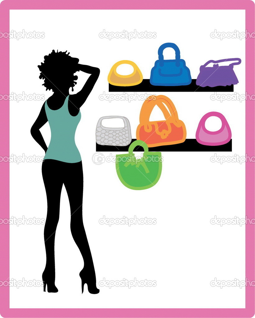 Pretty girl hurries for shopping. It season sale  — Stock Vector #1230922
