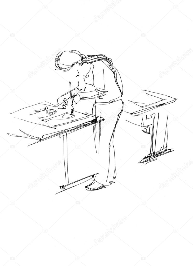 A girl draws on a school desk upright  Stock Photo #1247016