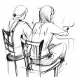 Stock Photo: Fellow and girl draw