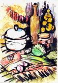 Bodegón con una sartén — Foto de Stock