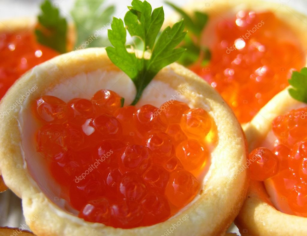 Canapes with red caviar stock photo karnizz 1134790 for Canape with caviar