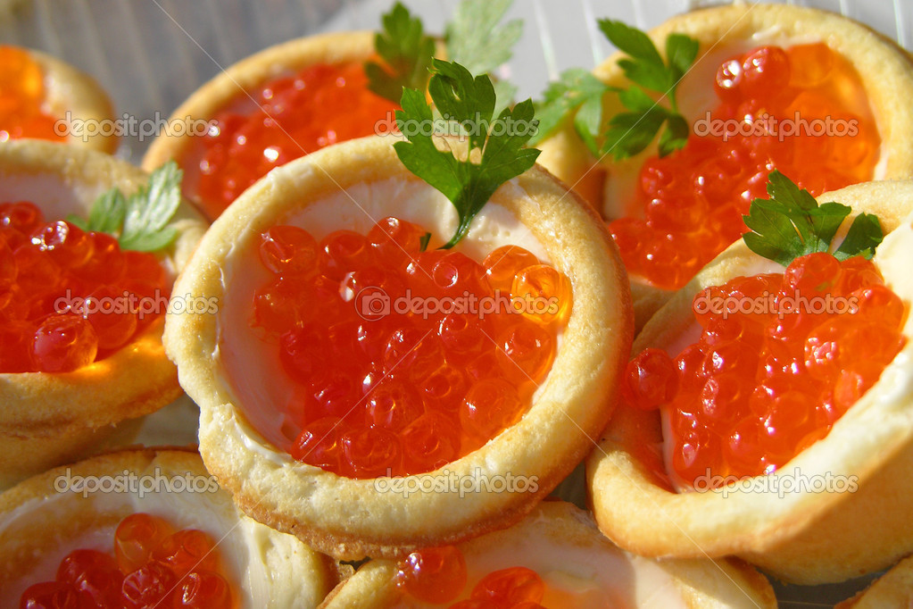 Canapes with red caviar stock photo karnizz 1134801 for Canape with caviar