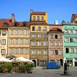 Colourful buildings in Warsaw - Stock Photo