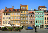 Colourful buildings in Warsaw — Stock Photo