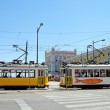 Typical yellow trams in Lisbon, Portugal — Stock Photo