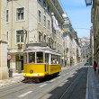 Old yellow tram in Lisbon — Stock Photo #1244307