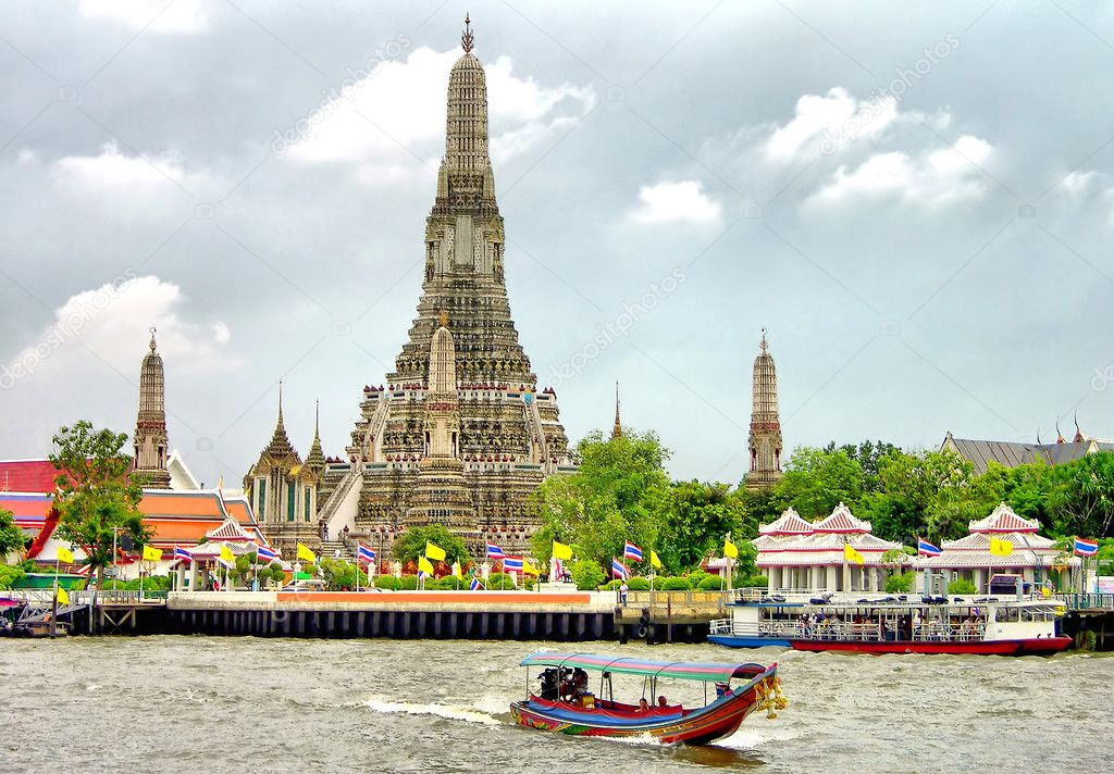 Buddhist temple Wat Arun along the Chao Phraya River in Bangkok, Thailand  Stock Photo #1242402