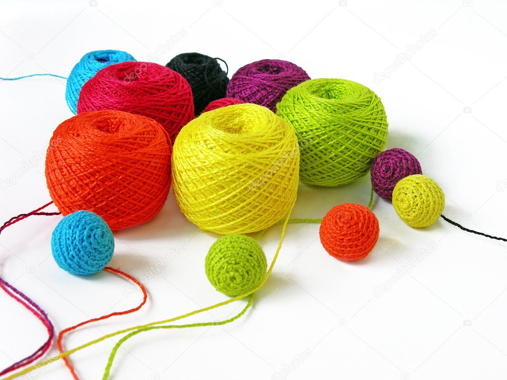 Set of colourful thread on white background — Foto Stock #1242509