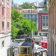 Lisbon street with an old yellow tram — Stock Photo