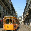 Old orange tram in Milano — Stock Photo