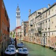 Channel and leaning tower, Venice - Stock Photo