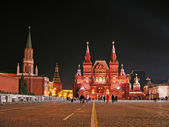 Red square in de nacht, moskou — Stockfoto