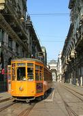 Old orange tram in Milano — Stock Photo