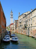 Channel and leaning tower, Venice — Stock Photo