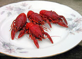Red cooked crayfish on a plate — Stock Photo