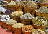 Herbs and spices section at the market — Stock Photo