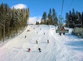 Ski track in Carpathian mountains — Stock Photo