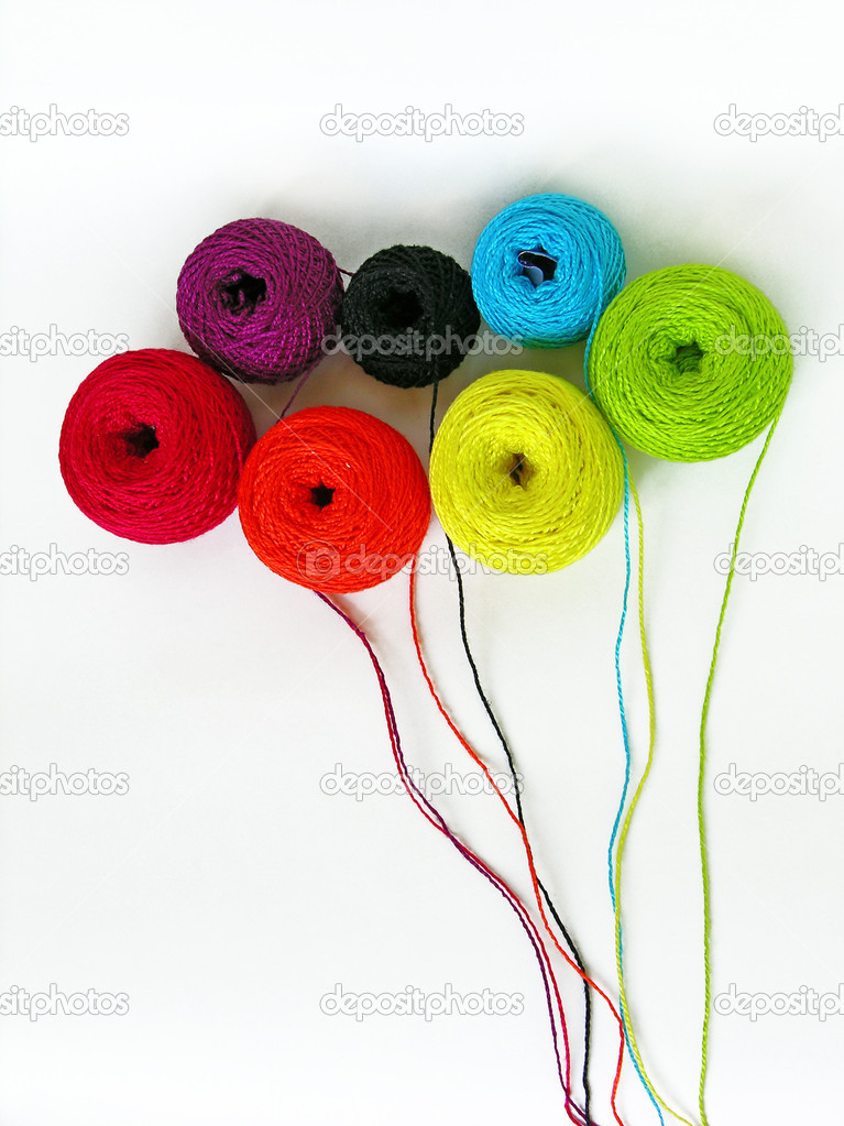 Colorful threads bouquet on the white background — Stock Photo #1392800