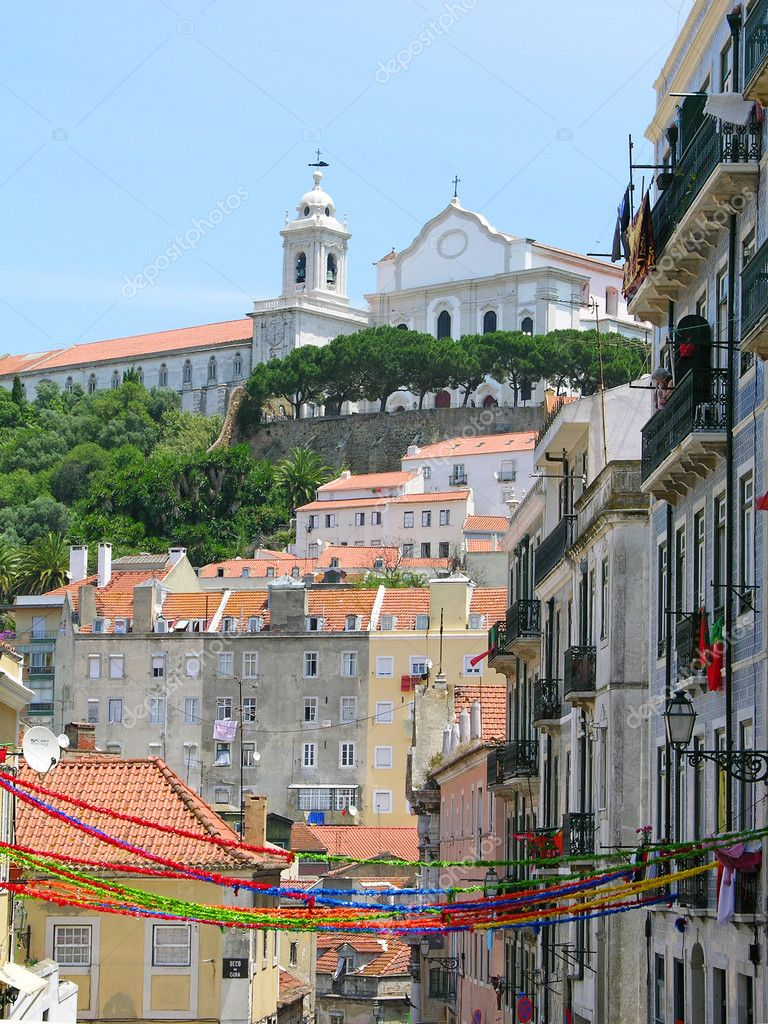 Lisbon downtown with holiday decoration, Portugal — Stock Photo #1419875