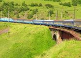Train in Carpathian mountains — Stock Photo