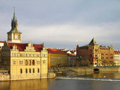 Vltava river embankment, Prague — Stok fotoğraf