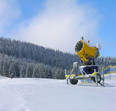 Snow gun on a ski track in Carpathians — Stock Photo