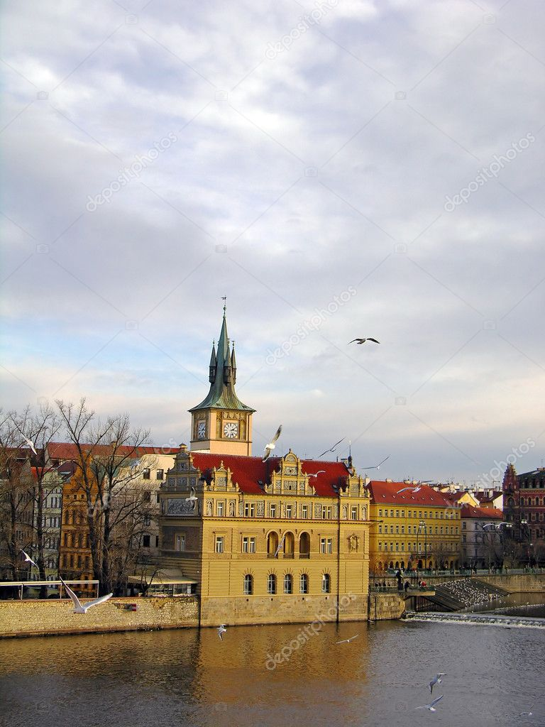 Vltava river embankment, Prague, Czech Republic  Stock Photo #1826564