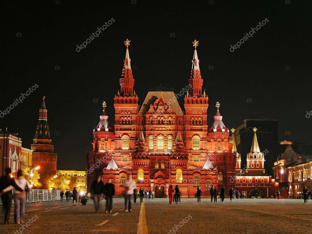 Famous Red Square and Historic Museum at night, Moscow, Russia — Stockfoto #1966427