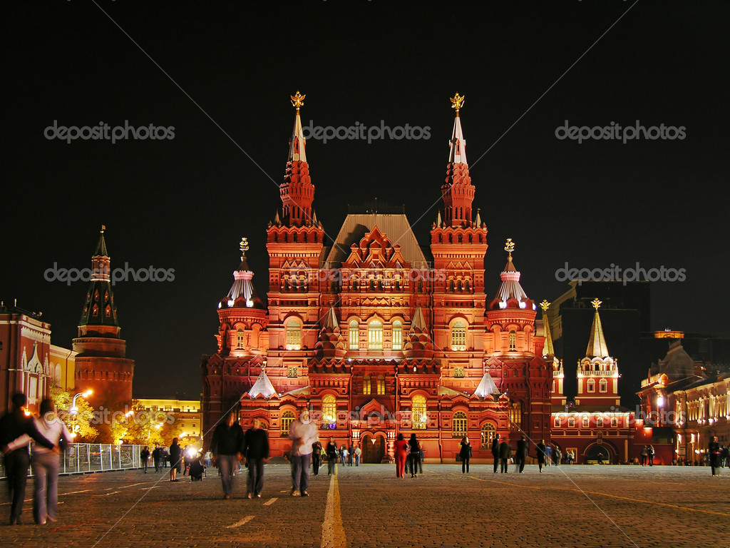 Famous Red Square and Historic Museum at night, Moscow, Russia — Foto Stock #1966427