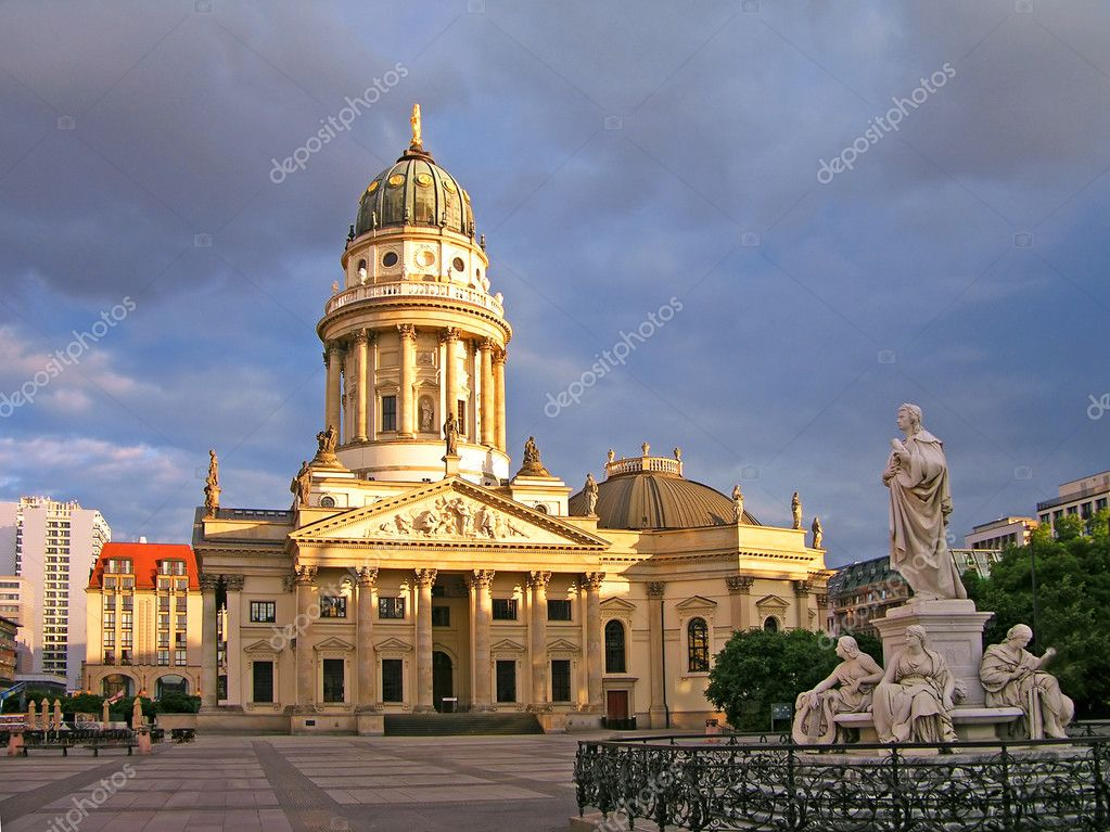 New Church (Deutscher Dom or German Cathedral) on Gendarmenmarkt, with the monument of Friedrich Schiller in the foreground. Berlin, Germany  Stock Photo #2174982