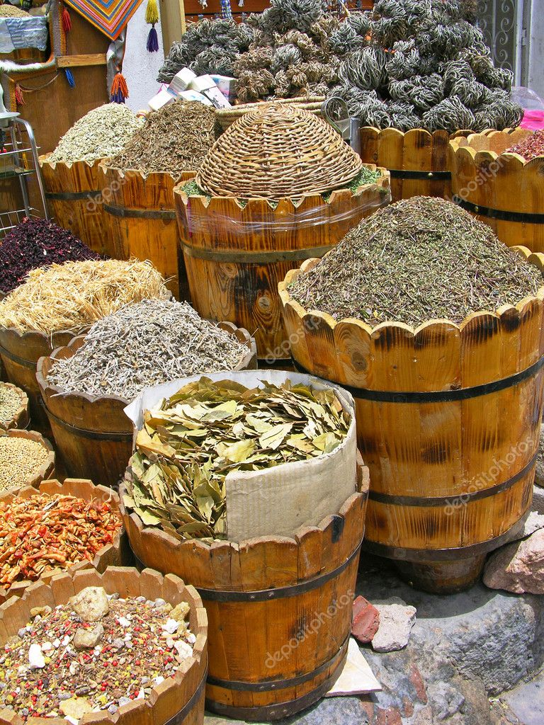 Herbs and spices section at the Egyptian market  Stock Photo #2233313