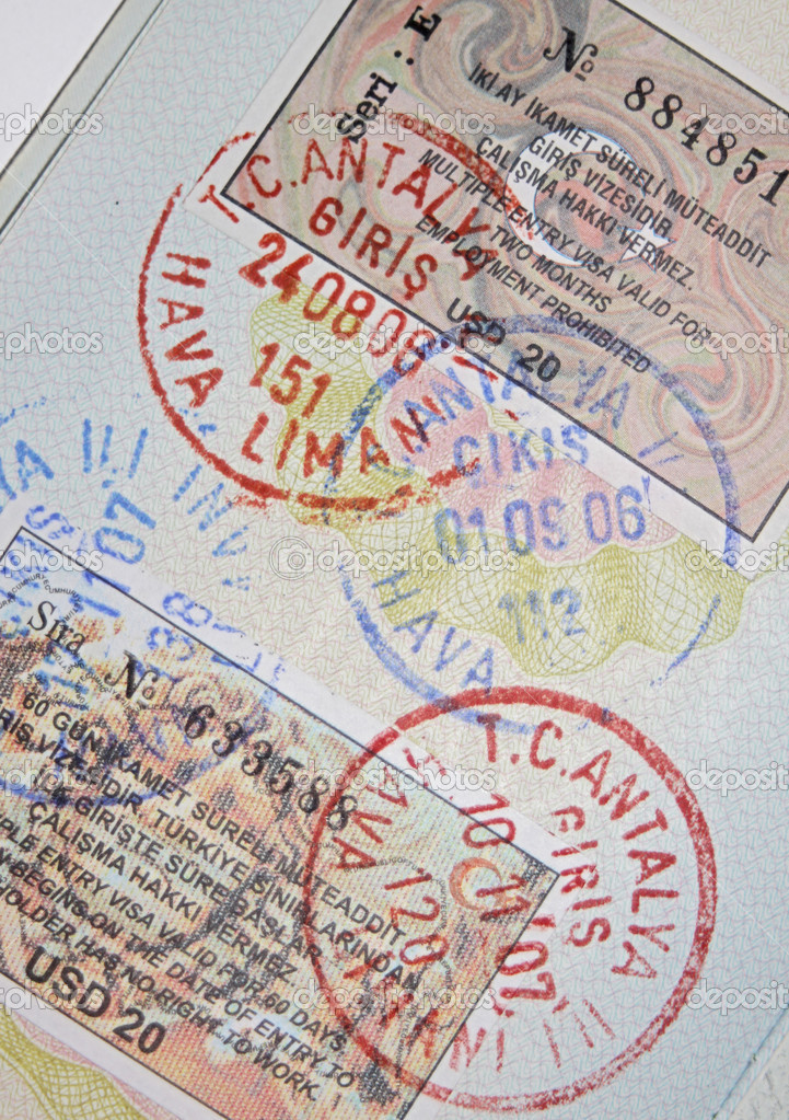 Page of passport with turkish visas and stamps — Stock Photo #2585059