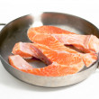 Royalty-Free Stock Photo: Two pieces of red fish are fried on fryi
