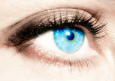 Female eye of blue colour close up — Stock Photo