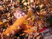 Children on autumn walk — Stock Photo