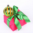 Royalty-Free Stock Photo: Gift box and christmas ball