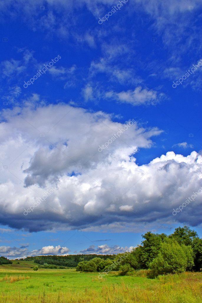 夏天农村风景与多云的天空