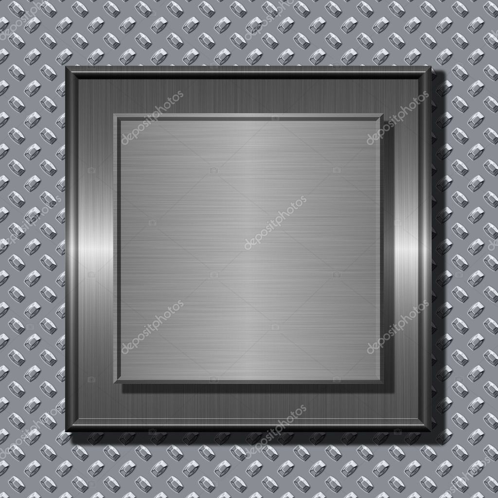Shiny brushed metal plates over rough metal background — Stock Photo #1608055