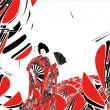 Japanese woman.  Graphic art background. - Stock Photo